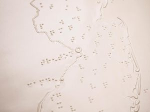 Close up of braille map of NJ
