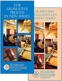 Covers of the Legislative Process in New Jersey brochures, English and Spanish versions