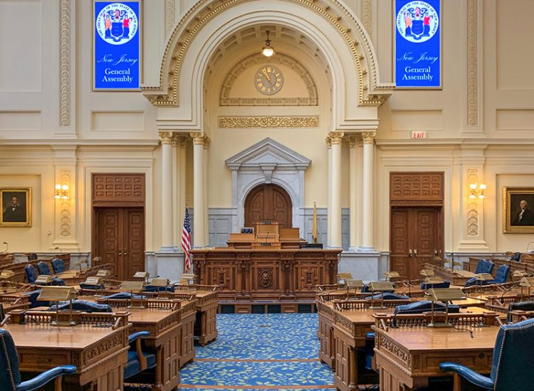 New Jersey General Assembly Chamber with new digital voting boards