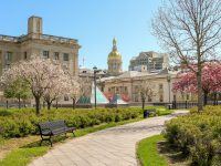 Backside of the New Jersey State House and Annex on a spring day