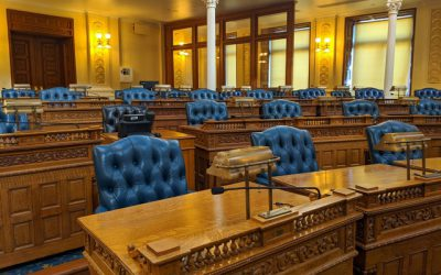 Virtual Classroom Snapshot - Inside of the General Assembly Chamber, blue leather chairs and wooden desks