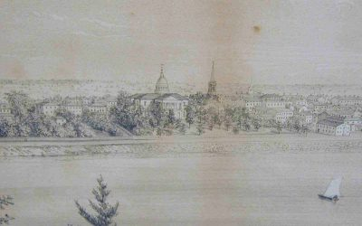 Virtual Classroom Snapshot - Origins of the Capital City, vintage sketch of the New Jersey State House